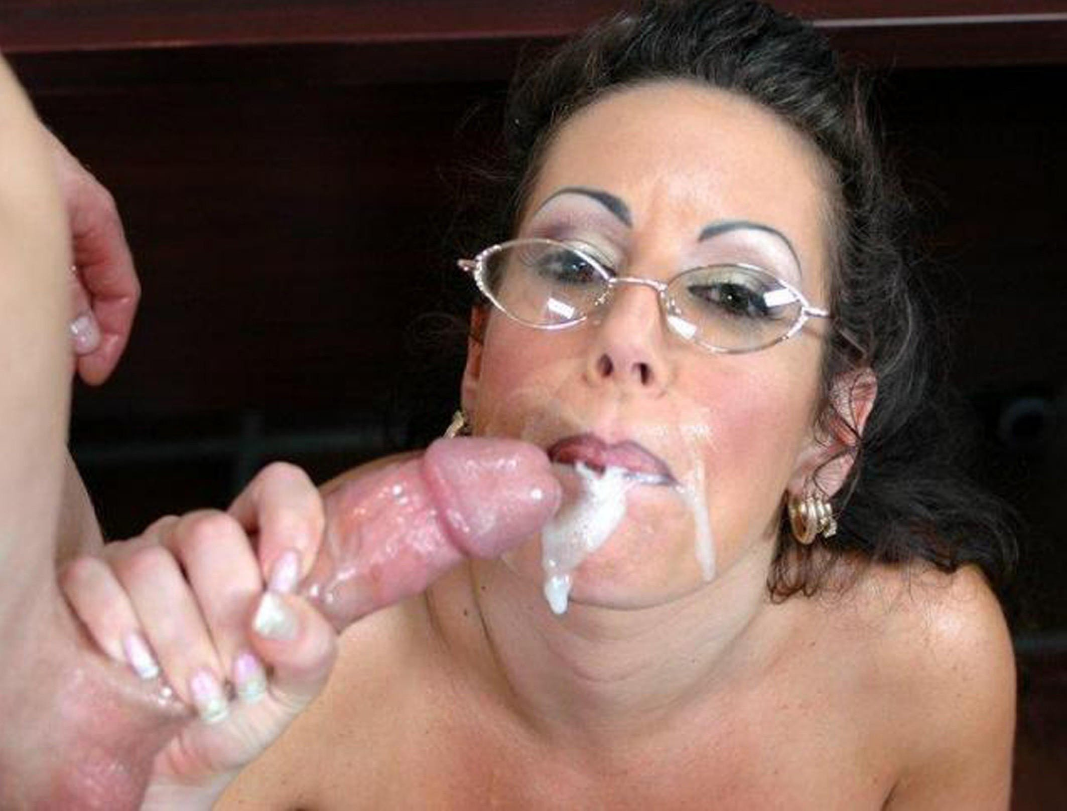 Filthy mature mom blows her sons cock till son cums in mom's insatiable mouth