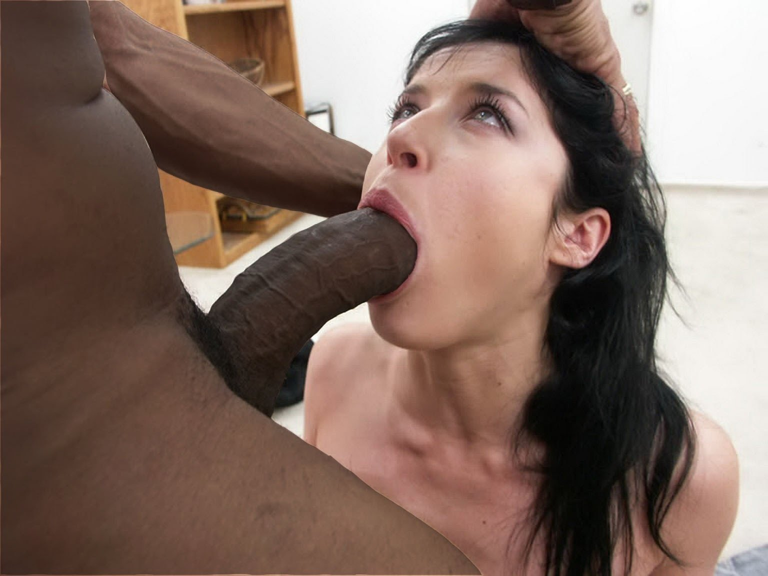 A giant cock in beautys mouth