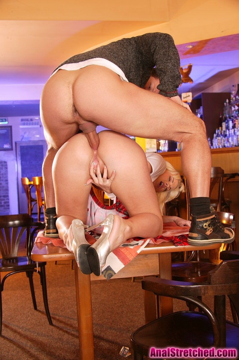 Long legged blonde waitress mary carey demonstrates huge boobs and pussy in the bar