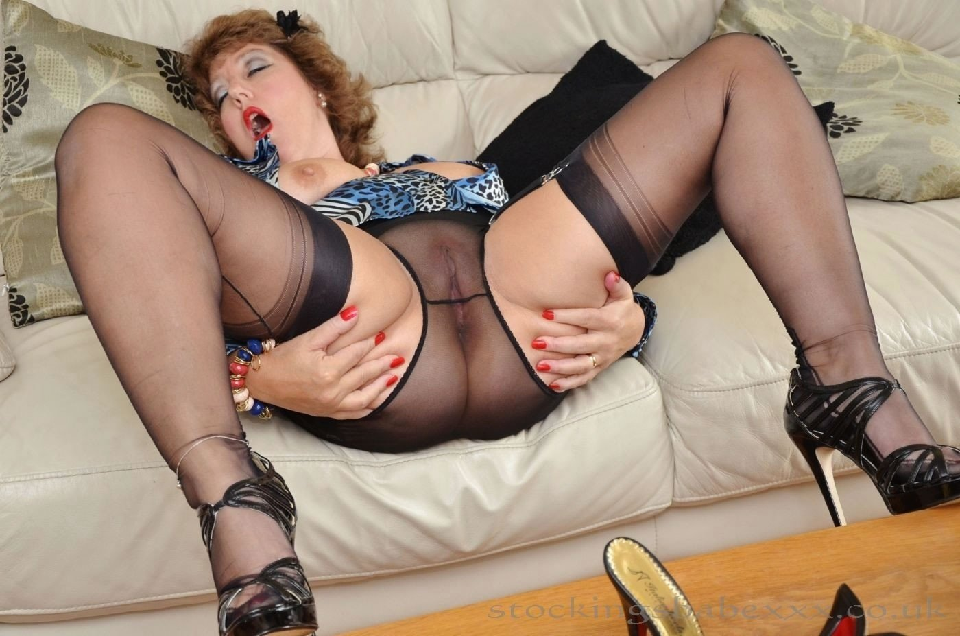 Horny mature stockings